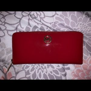 Michael Kors Large Shiny Red Zip-Around Wallet